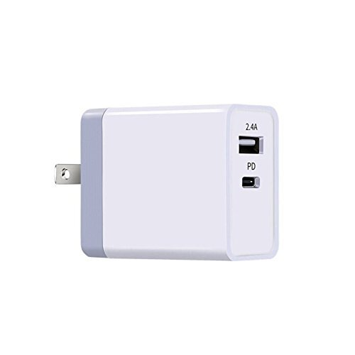 Price comparison product image USB C PD Charger,  42W Power Delivery Type c Wall Charger With 2 Ports For iPhone X,  Macbook,  Huawei MateBook,  DELL XPS,  Nintendo Switch,  Google Pixel and more