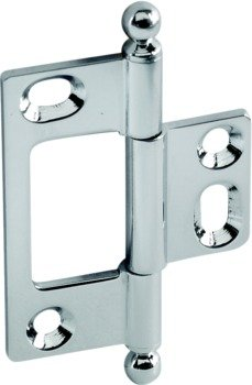 Decorative Butt Hinge, Non-Mortise, 50 x 37 mm, ELITE Solid Brass Hinge with Ball Finial Polished Chrome Finish
