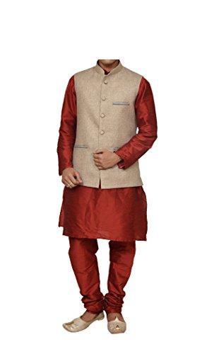 (Mag Men's Red Matching silk Kurta Churidhar With Coffee Colour Joot Waistcoat (RG-10939-42))