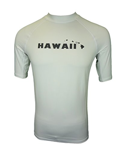 Maui Clothing Fuse Solid Hawaii Print Rash Guard (White, - Company Sunglass Lahaina