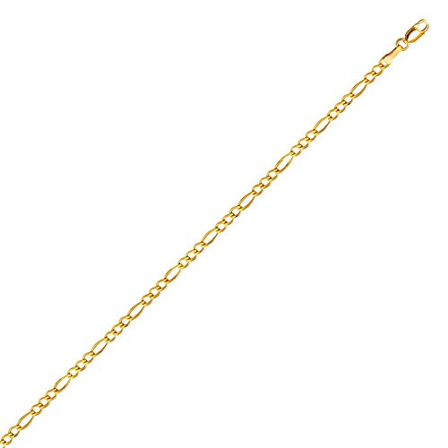 PriceRock 10K Solid Yellow Gold Figaro Chain Necklace 3mm thick 24 Inches - 10k Yellow Gold Figaro Necklace