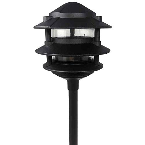 AQLighting Cast Aluminum 3 Tier Pagoda for Driveway, Pathway, Garden, Landscape Outdoor (Budget Cast Aluminum Outdoor Lighting)