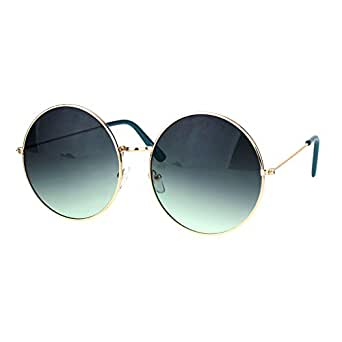 Classic Oversize Joplin Style Hippie Round Circle Lens Sunglasses Gold Blue Smoke