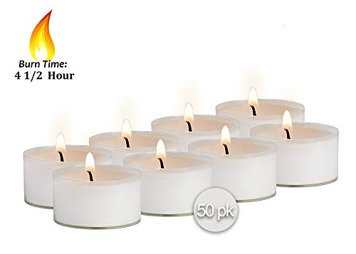 Ner Mitzvah Clear Cup Tea Light Candles - 50 Bulk Pack - White Unscented Travel, Centerpiece, Decorative Candle - 4.5 Hour Burn Time