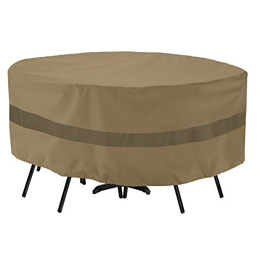 """SunPatio Outdoor Table and Chair Cover, Heavy Duty Waterproof Patio Furniture Set Cover with Sealed Seam, 72"""" Dia x 30"""" H, FadeStop, All Weather Protection, Taupe"""