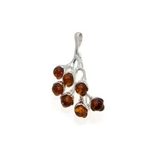 (Honey Amber Sterling Silver Twig Pin - Pendant)