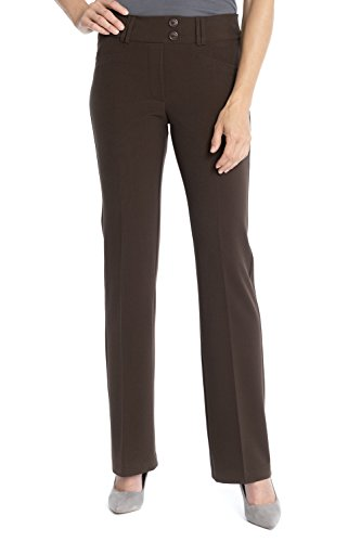 REKUCCI Women's Ease In To Comfort Fit Stretch Slight Bootcut Career Pant (Brown Career Pant)