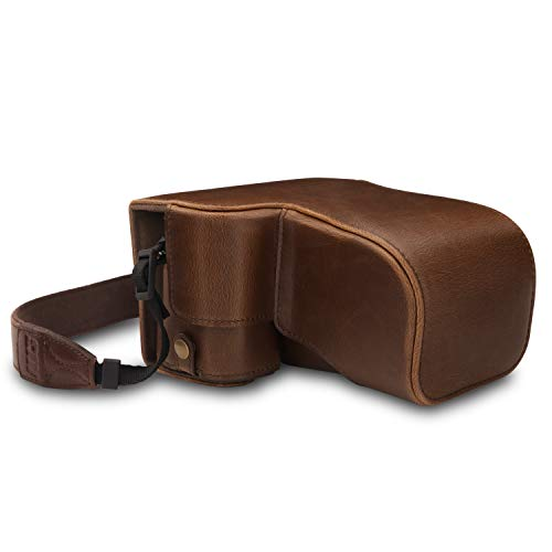 MegaGear MG1661 Ever Ready Leather Camera Case Compatible with Sony Alpha A6400 (18-135mm) - Brown
