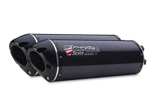 Two Brothers Racing (005-3160405DV-S) Silver Series M-2 Carbon Fiber Canister Dual Slip-On Exhaust System