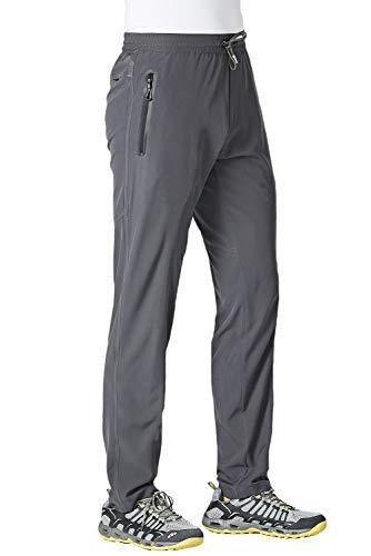 KEFITEVD Men's Jogging Pants Comfortable Stretch Slim Fit Sweatpants Breathable Moisture Wicking Sport Pants Dark Gray
