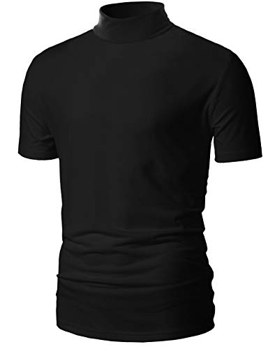 poriff Mens Slim Fit Soft Cotton Blend Solid Pullover Tops Medium Neck T Shirt Black XL ()