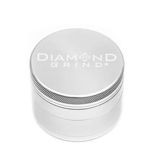 """Diamond Grind 4 Piece Aluminum Herb Grinder with screen 63mm (2.50"""") SILVER"""