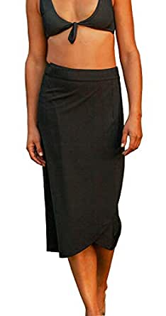 RipSkirt Hawaii - Length 3 - Quick Wrap Cover-up That Multitasks as The Perfect Travel/Summer Skirt - Black - L / 12-14