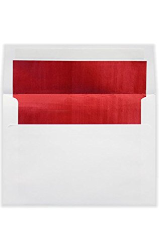 A7 Foil Lined Invitation Envelopes w/Peel & Press (5 1/4 x 7 1/4) - White w/Red LUX Lining (50 Qty.) | Perfect for Invitations, Announcements, Sending Cards, 5x7 Photos | 60lb. Paper | FLWH4880-01-50