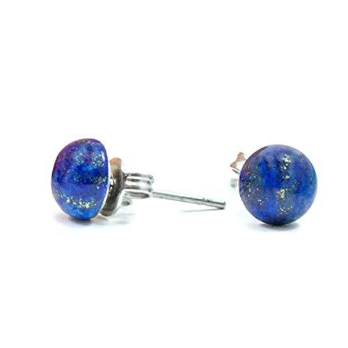 Little Gems Jewels 6mm Navy Blue Lapis Lazuli Unisex Hypoallergenic Stud Earrings