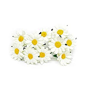 3.5cm White Yellow Paper Daisies with Wire Stems Mulberry Paper Flowers Floral Crown Flowers Miniature Flowers For Crafts Artificial Flowers, 20 Pieces 67