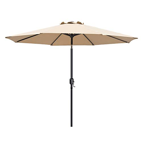 I-Choice 9 ft Outdoor Patio Umbrella Aluminum Market Table Garden Umbrella 8 Ribs W/Push Button Tilt & Crank Lift Adjustment, Sand For Sale