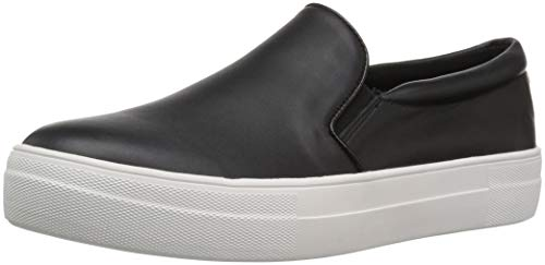 Steve Madden Women's Gills Sneaker, Black Leather, 8 M US