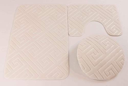 - Elegant Home 3 Piece Solid Color Greek Key Design Embossed Memory Foam Bathroom Rug Set Bath Rug, Contour Mat, Lid Cover Non-Slip with Rubber Backing # Greek Key (Ivory)
