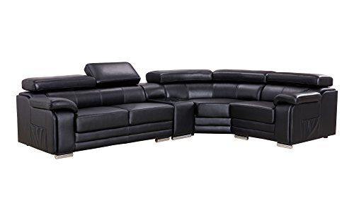 - American Eagle Furniture Daphne Collection Modern Top Grain Leather Sectional Sofa With Chaise on Right, Adjustable Headrests, Black