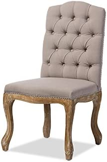 Baxton Studio Hudson Chic Rustic French Country Cottage Weathered Oak Button Tufted Dining Chair with Beige Fabric