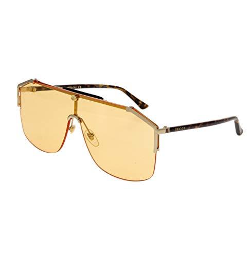 GUCCI 0291 Sylvie Havana Gold Orange Unisex Shield Sunglasses GG0291S - Orange Havana Sunglasses