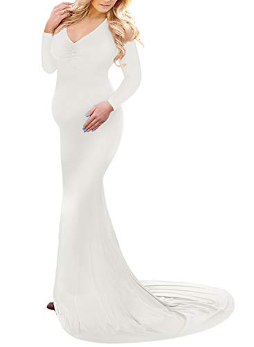 Saslax Long Sleeve Ruched Maternity Gown Slim Fit Maxi Photography Dress Off White Medium]()
