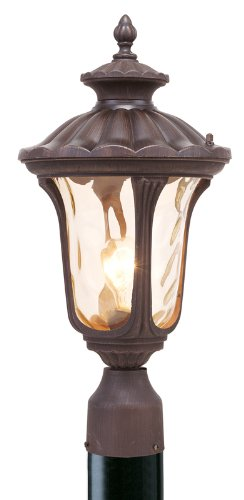 Livex Lighting 7655-58 Oxford 1 Light Imperial Bronze Cast Aluminum Post Head Lantern with Light Amber Water Glass ()