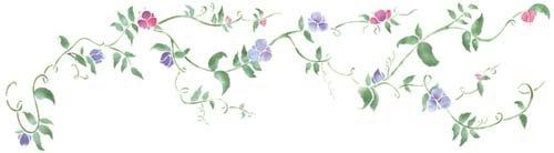 Flowers Sweet Pea Designs - Small Sweet Pea Flower Design Wall Stencil SKU #3483 by Designer Stencils