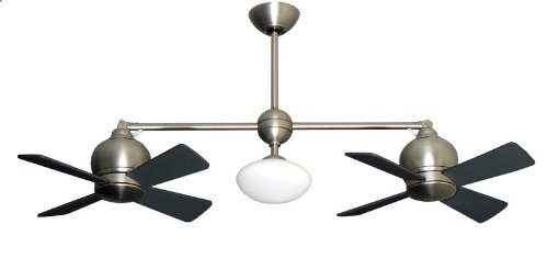 Metropolitan Modern Double Ceiling Fan in Satin Nickel with Light & Remote