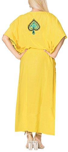 b115 Loungewear Rayón Largo Vacaciones Vestidos Mujeres Bordado Dormir Maxi Cubrir Los Días Amarillo Leela De W Fiesta Caftán Tamaño Ropa Libre La Todos Kimono Playa Para Vestido Túnica tZWpqcS