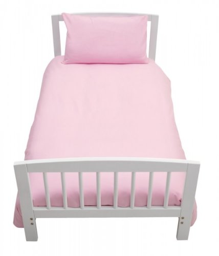 COT BED DUVET COVER WITH PILLOWCASE- SUPERIOR NATURAL COTTON RICH 120 X 150 CM - PINK Crazypriceuk