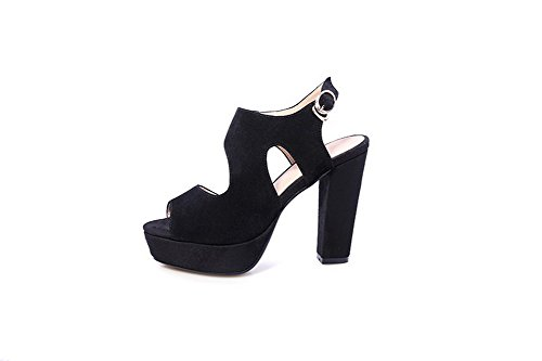 Sandals AmoonyFashion Peep Patch Cow Black Heels Buckle Toe Skull High Womens Solid 0Fwv0