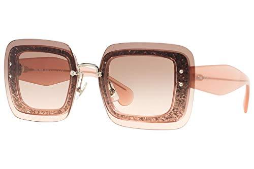 Miu Miu MU01RS Sunglasses Transparent Pink Glitter w/Pink Gradient Gray Lens UEU1E2 MU 01RS For Women (Sunglasses Gray Miu Miu)