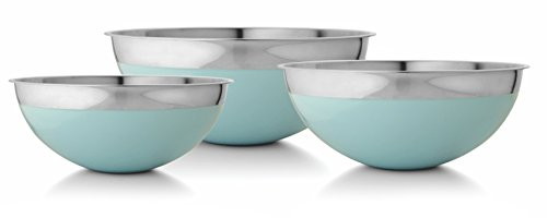 Francois et Mimi Stainless Steel Mixing Bowls, 3 Piece Set, with Azure Blue Accent