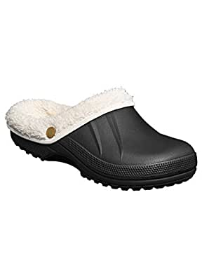 Women's Fleece Lined Clogs, Black, Size 6