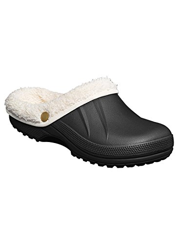 Women's Fleece Lined Clogs, Black, Size 10 Fleece Lined Clogs
