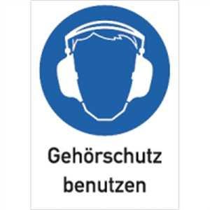 Cartel combinado Cartel Protección auditiva benutzen 18,5 x ...