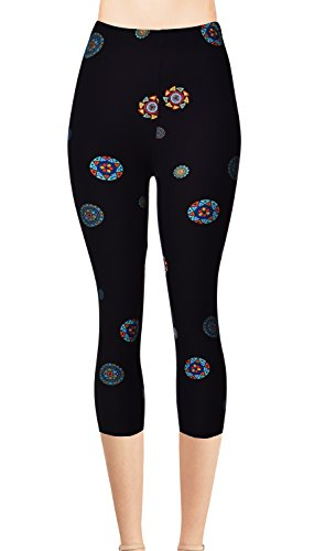 VIV Collection Plus Size Printed Brushed Capris (Roaming Circles) Circles Capri Pants