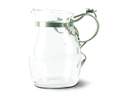- Vagabond House Water/Juice Pitcher Glass with Pewter Dragonfly Handle 7.75