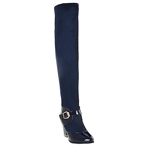 Carolbar Womens Buckle Pointed Toe Sexy Night Club High Heel Over The Knee Boots Blue ZpjNG6HZ