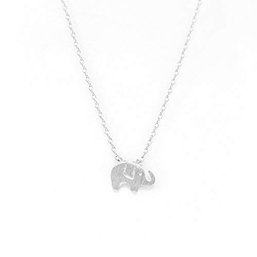 Me Plus Elephant Small Charm Necklace Tiny Cute Pendant with Adjustable Clasp (Silver) ()
