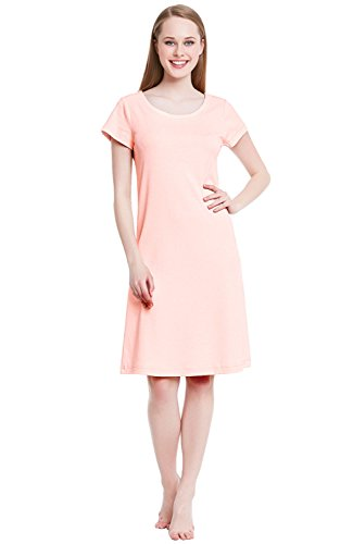 Alexander Del Rossa Womens Cotton Knit Nightgown, Short Sleeve Sleep Dress