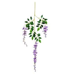 Grey990 1Pc Artificial Flowers Vine Wisteria Wedding Arch Gazebo Wall Decoration Home Garland Light Purple 54