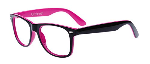 Outray Unisex Retro 80 Clear Lens Glasses Bright Pink