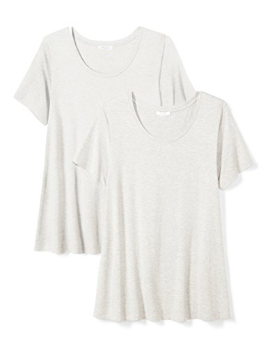 - Amazon Brand - Daily Ritual Women's Plus Size Jersey Short-Sleeve Scoop Neck Swing T-Shirt, 1X, Light Heather Grey/Light Heather Grey