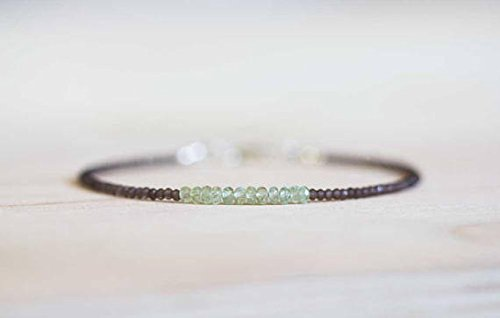 JP_Beads Super Skinny Smoky Quartz Bracelet with Chrysoberyl, Ultra Delicate Smokey Quartz Stacking Beaded Gemstone Bracelet, Chrysoberyl Jewelry 2-2.5mm 7 ()