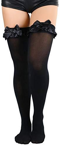 (ToBeInStyle Women's Nylon OTK With Ruffle Bow - Black - OS)