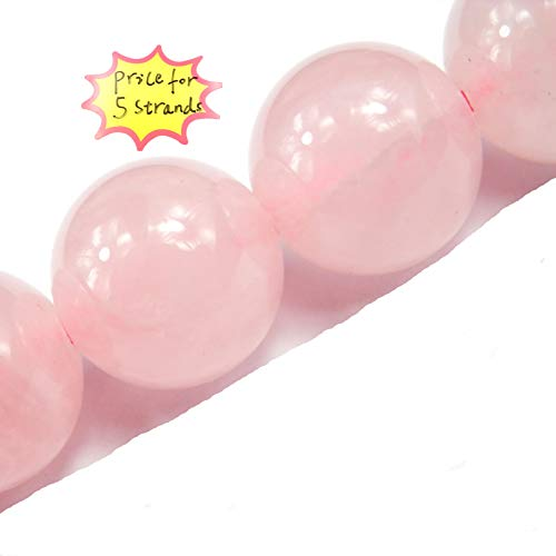 Gemstone Beads for Jewelry Making, Sold per Bag 5 Strands Inside, Rose Quartz 8mm