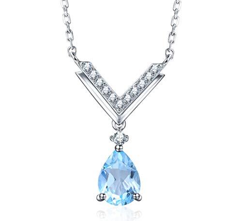 (EL UNO 925 Sterling Silver Pear Shape Blue Topaz Halo Pendants Necklace Jewelry for Women 18
